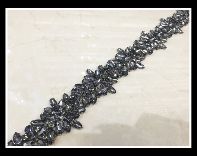 Thick Glass Rhinestone Trim, Swarovski Quality, (silver, AB, Black) #0135