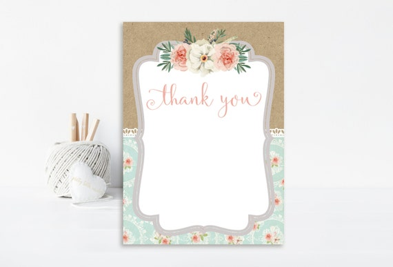 shabby chic thank you card shabby chic birthday shabby chic. Black Bedroom Furniture Sets. Home Design Ideas