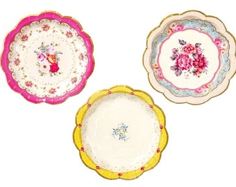 Paper Plates, Cake Plates, Dessert Plates, Bridal Tea, Party Plates, Wedding Shower, Garden Party, Shabby Chic Party, Florals, Flowers, Rose