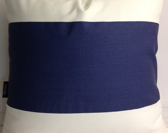 Color block navy blue and white stripe decorative throw pillow 20 x 20 kaitlin