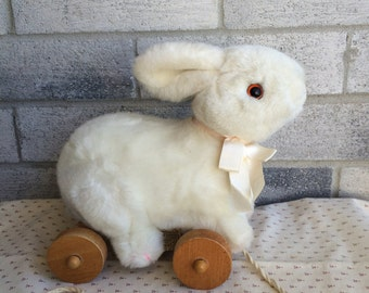 Vintage 80s Applause Bunny Pull Toy, Nursery decor, Rabbit Pull toy, Easter bunny pull toy, vintage pull toy