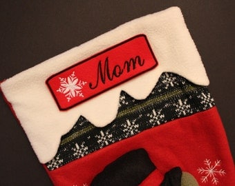 Iron-On Name Patch for Christmas Stocking, Personalized Stocking Name Patch, script font, Embroidered Snowflake Patch, straight cut, 6x2, S1