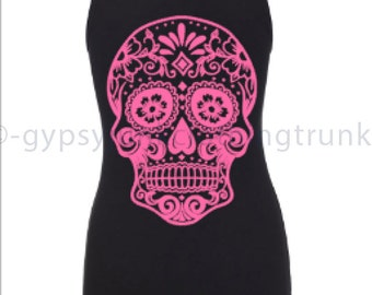 Pink Sugar Skull Tank Top Pink Skull Print -Valentines Tank Top  - Skull Graphic T Shirt - Sugar Skull Clothing - Boho Retro Tank Top