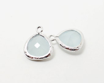 G002219/Alice Blue/Rhodium plated over brass/Small teardrop faceted glass Pendant/11x13mm/2pcs
