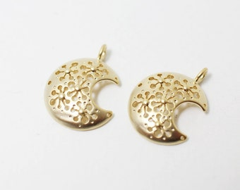 P0312/Anti-Tarnished Matte Gold Plating Over Brass/Crescent Pendant/15x19mm/2pcs