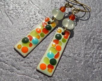 Earrings Bohemian enamel glazes handcrafted multicolor multicolor summer enamel prehnite cornelian gemstones earrings
