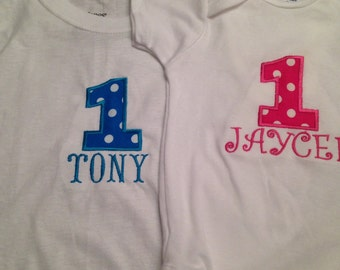 1 t-shirt or onesie with name.