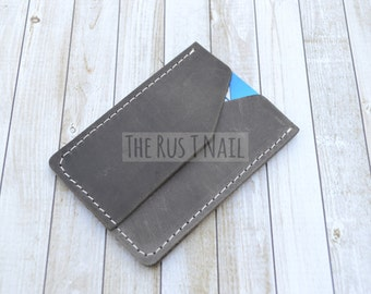 Genuine Leather Rugged Credit Card Wallet - Brown