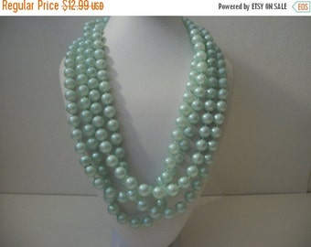 ON SALE Vintage Mint Green 88 inches Single Strand Individual Knotted Plastic Beads Necklace NO closure 1313