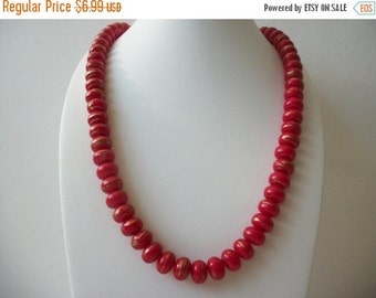ON SALE Vintage 1960s Red Gold Swirls Plastic Beads Necklace 81916