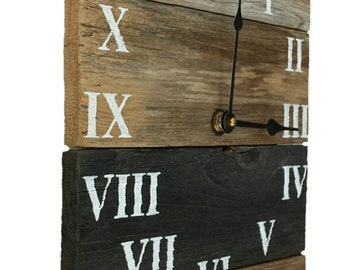 Handcrafted Reclaimed Wood Roman Numeral Clock