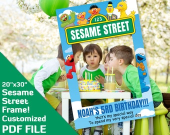 "sesame street frame, sesame street party decorations, elmo photo booth, big bird, cookie monster birthday decor, 20x30"" printable PDF file"