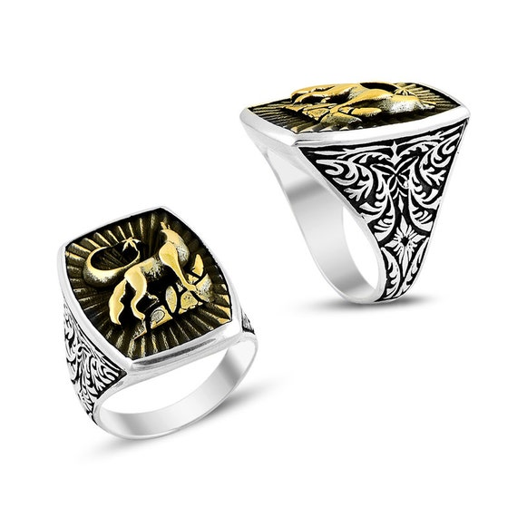 wolf mens ring islamic jewelry 925k by constantinoplejewel