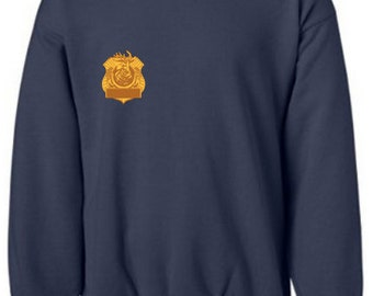Front with Name on Badge and Back with Logo on a Crew Neck Sweatshirt