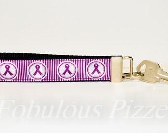 Domestic Violence Awareness Domestic Abuse Awareness Wristlet Keychain Domestic Abuse Survivor Key Fob Support Awareness Purple Ribbon
