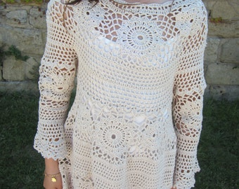 Crochet dress, tunic tops, summer clothes, dresses for women, crochet tunic, hippie chic tunic