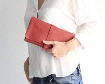 Clutch EVA, very soft leather bag, red