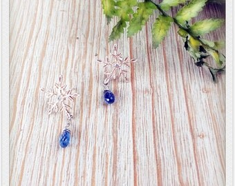 WANG BY W-sterling silver snowflower with3A kyanite earring/