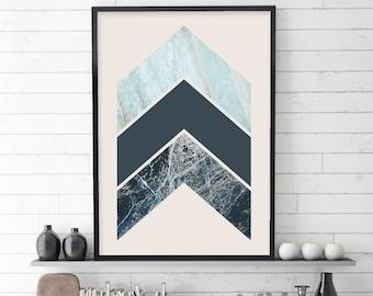 Chevrons, Scandinavian Prints, Scandinavian Modern, Affiche Scandinave, Scandinavian Art, Turquoise, Blue, Downloadable Print, Printable Art