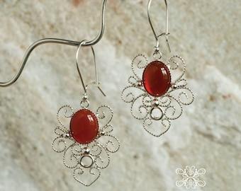 Handmade Sterling Silver Gemset Wedding Orchid Filigree Earrings,  Elegant Filigree Earrings, Wedding Filigree Earring
