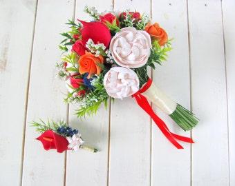Wedding bouquet, wedding, boutonniere, wedding flowers, made of ClayCraft by Deco, flowers