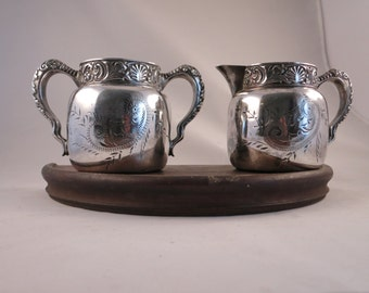Antique Silver Creamer and Sugar St. Louis Silver Co Quadruple Silver Plate Etched Creamer and Sugar