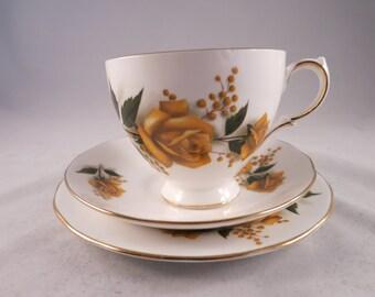 English Bone China Cup and Saucer Gainsborough Yellow Rose  Teacup Cottage England Teatime