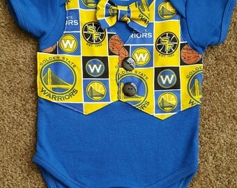 Warriors onesie with faux vest and bow tie/Warriors creeper/Warriors baby boy/basketball/NBA/Golden State Warriors/vest/bow tie/baby gift