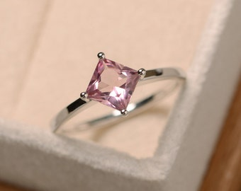 Princess cut tourmaline ring, pink gemstone ring, solitaire ring