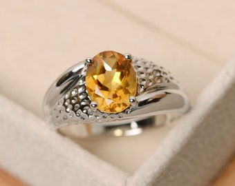 Citrine ring, solitaire ring, oval cut ring, yellow citrine, yellow gemstone ring