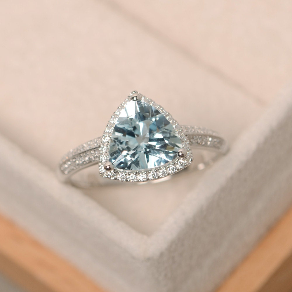 Aquamarine Ring Triangle Cut Engagement Ring March