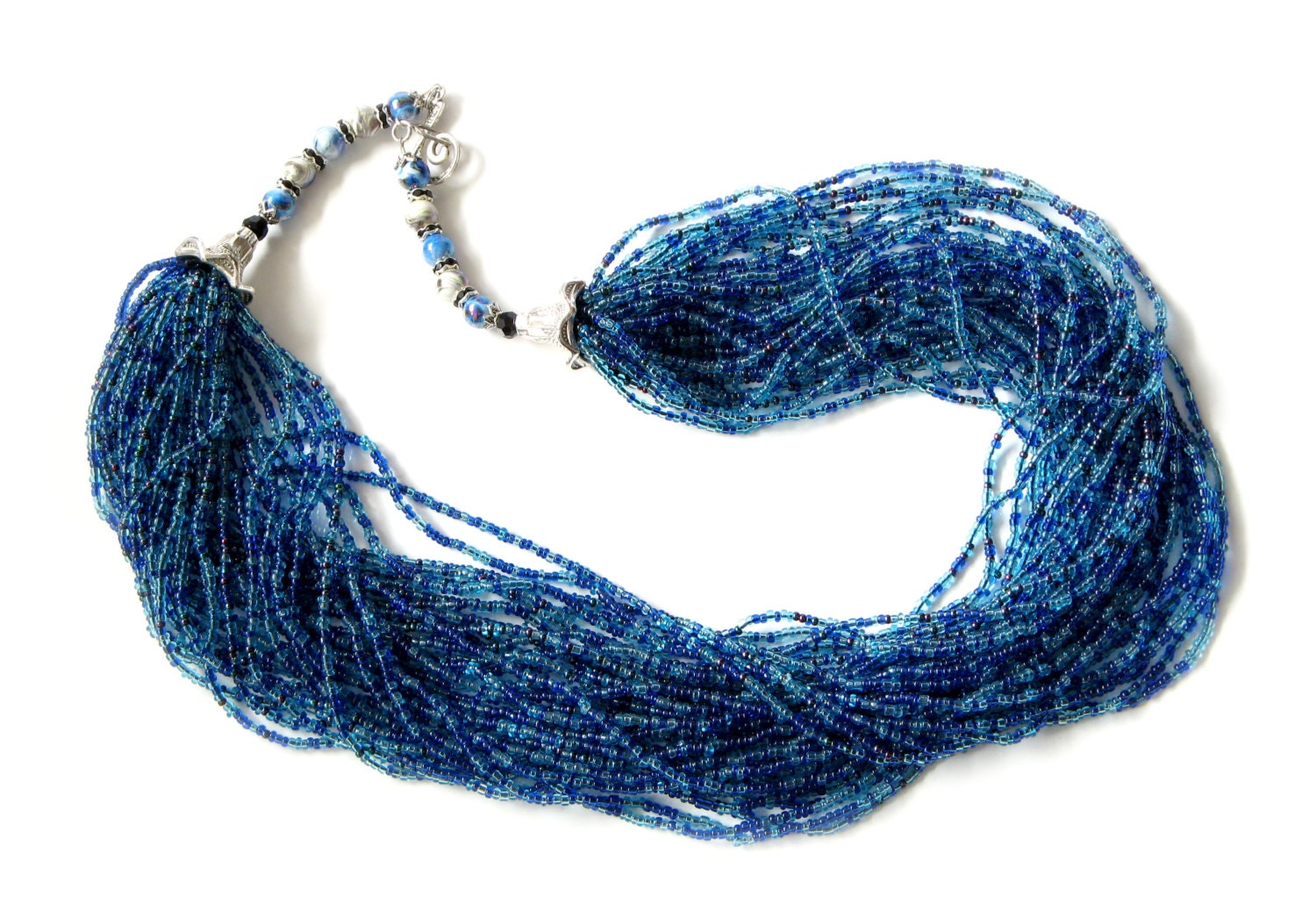 blue necklace multi layer blue seed by