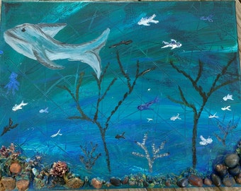 Underwater seascape oil and stone textural painting