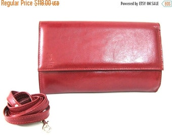 SALE 50% OFF Leather Clutch Purse Bag - Cherry Red (M.0736) Leather handbag, Clutch Wallet, Leather Crossbody Bag, Leather Clutch Wallet,Cro