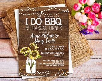 I do bbq rehearsal dinner invitation, I Do BBQ Invitations For Weddings, Sunflower Rehearsal Dinner Invitation, spring I do BBQ invite party