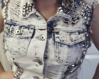 punk studded ripped vest
