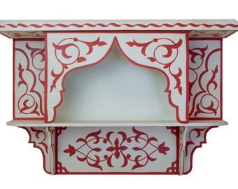 Handmade Moroccan Hand-painted Wood Shelf, Red/ Blue