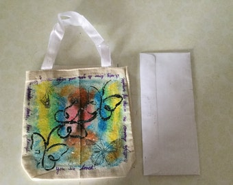 Child butterfly canvas tote