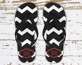 Bridal party flipflops, Wedding flip flops, Black and white chevron with red, Custom flipflops, Gift for bridesmaids  (1001)