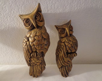 Vintage Large Ceramic Gold Owl Wall Hangings