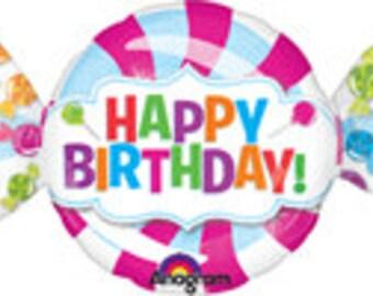 "Candy Balloon, Happy Birthday Balloon, Happy Birthday, Candy Theme, Birthday Party, Party Decoration, Candy Decoration, Candy Crush, 42"""