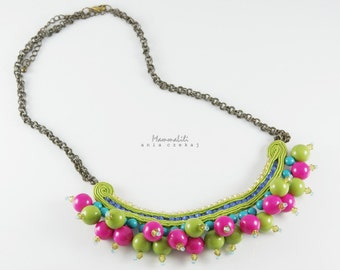 Necklace made by embroidery braid