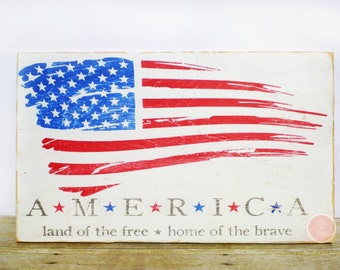 American Flag, Wooden Sign, America Flag Sign, America Sign, Porch Sign, Garage Sign, Housewarming Gift, Rustic Decor, Home Decor
