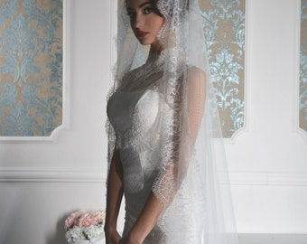 Sylvia mantilla veil, Cathedral veil, Wedding Veil, lace veil, veils,Mantilla Veil, soft tulle Lace Veil, Lace Veil, mantilla