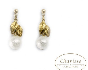 Marshmallow Pearl with Laurel Leaves Earrings