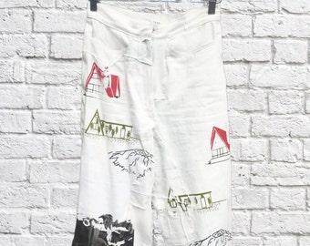 Cabin Printed Patchwork Capri Jeans
