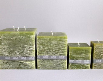 Lemongrass scent & rustic square pillar candle handmade in 4 sizes