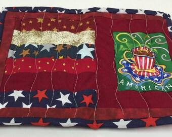Americana Mug Rug,Patriotic,Fathers Day Gift,Red White Blue,Snack Mat,Mug Mat,Coffee,July 4th,Stars Candle Mat,Drink Coaster,Office Mug Rug