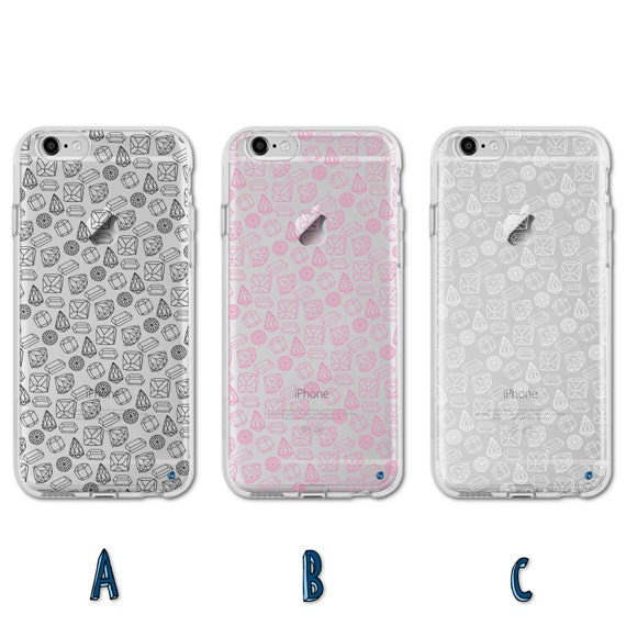 0066 Hand Drawn Diamonds and Gems Pattern TPU Case for iPhone 5/5s,SE ...