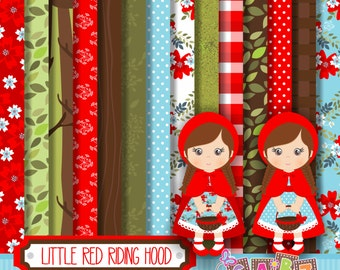 Little Red Riding Hood, Clipart, Digital Paper, Party Girls, Birthday